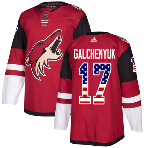 Adidas Coyotes #17 Alex Galchenyuk Maroon Home Authentic USA Flag Stitched Youth NHL Jersey