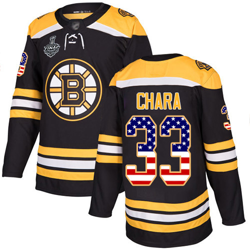 Adidas Bruins #33 Zdeno Chara Black Home Authentic USA Flag Stanley Cup Final Bound Youth Stitched NHL Jersey