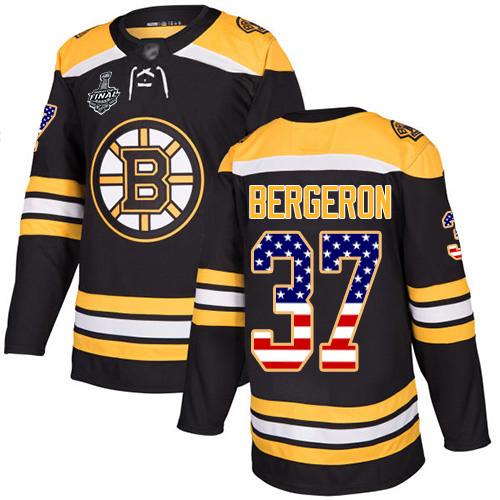 Adidas Bruins #37 Patrice Bergeron Black Home Authentic USA Flag Stanley Cup Final Bound Youth Stitched NHL Jersey
