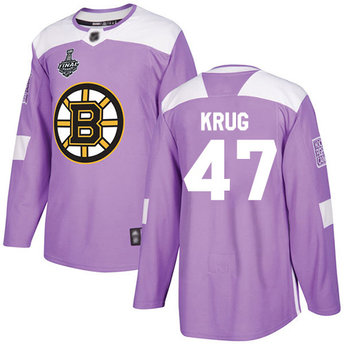 Adidas Bruins #47 Torey Krug Purple Authentic Fights Cancer Stanley Cup Final Bound Youth Stitched NHL Jersey