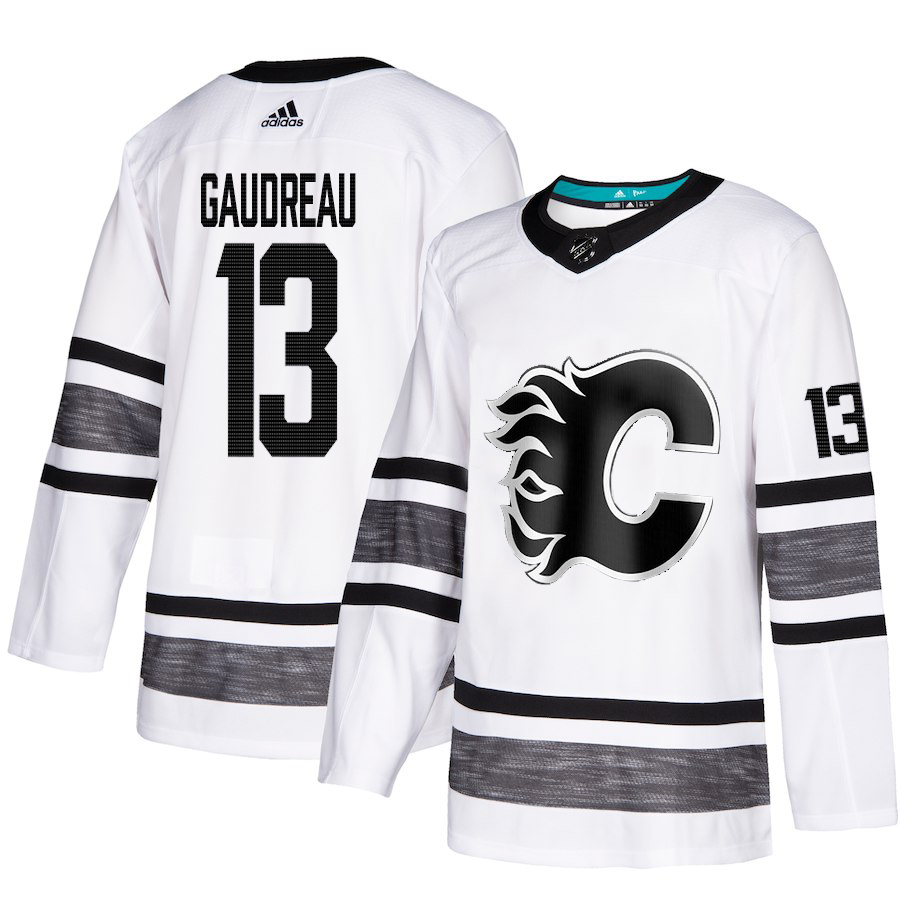 Adidas Flames #13 Johnny Gaudreau White Authentic 2019 All-Star Stitched Youth NHL Jersey