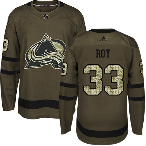 Adidas Avalanche #33 Patrick Roy Green Salute to Service Stitched Youth NHL Jersey