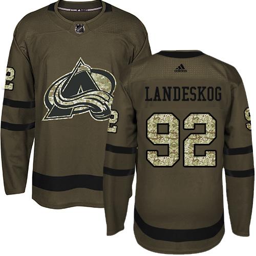 Adidas Avalanche #92 Gabriel Landeskog Green Salute to Service Stitched Youth NHL Jersey