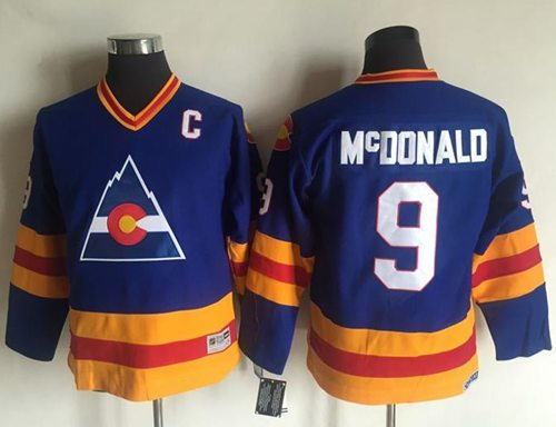 Avalanche #9 Lanny McDonald Blue CCM Throwback Stitched Youth NHL Jersey