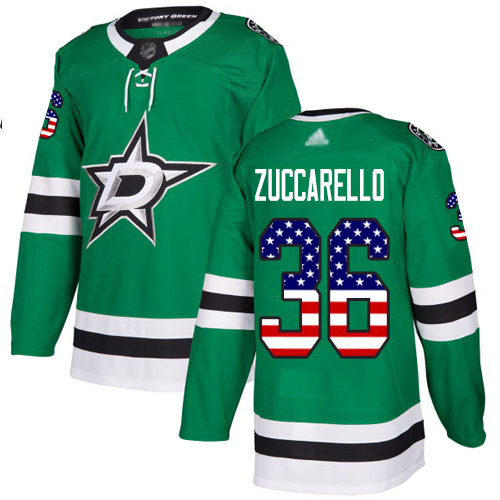 Adidas Stars #36 Mats Zuccarello Green Home Authentic USA Flag Youth Stitched NHL Jersey
