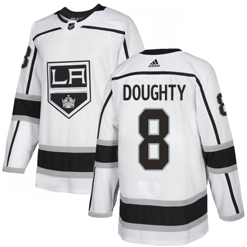 Adidas Kings #8 Drew Doughty White Road Authentic Stitched Youth NHL Jersey