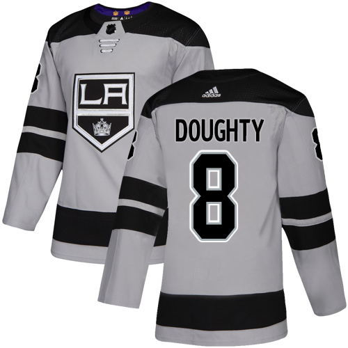 Adidas Kings #8 Drew Doughty Gray Alternate Authentic Stitched Youth NHL Jersey