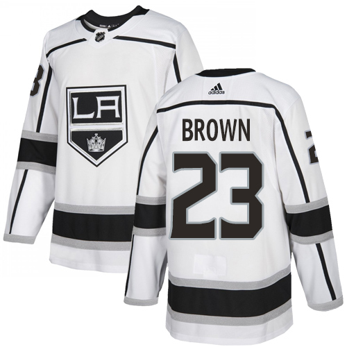 Adidas Kings #23 Dustin Brown White Road Authentic Stitched Youth NHL Jersey