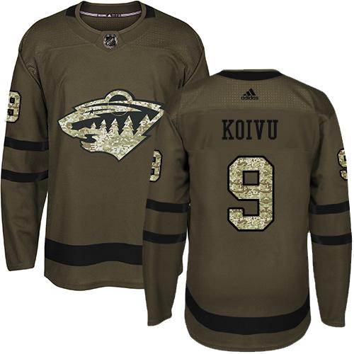 Adidas Wild #9 Mikko Koivu Green Salute to Service Stitched Youth NHL Jersey