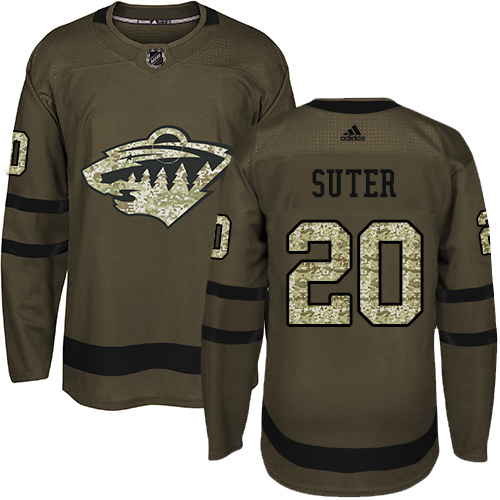 Adidas Wild #20 Ryan Suter Green Salute to Service Stitched Youth NHL Jersey