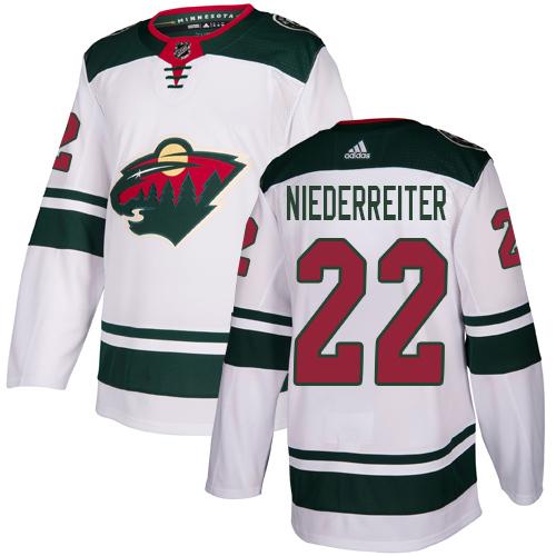 Adidas Wild #22 Nino Niederreiter White Road Authentic Stitched Youth NHL Jersey