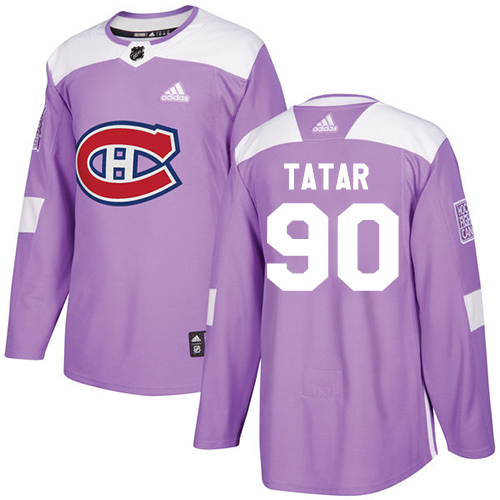 Adidas Canadiens #90 Tomas Tatar Purple Authentic Fights Cancer Stitched Youth NHL Jersey