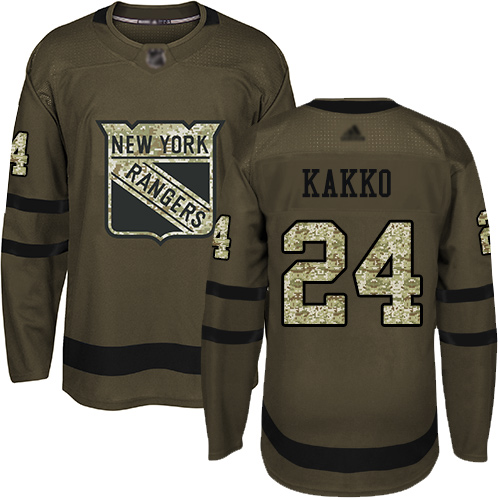 Adidas Rangers #24 Kaapo Kakko Green Salute to Service Stitched Youth NHL Jersey