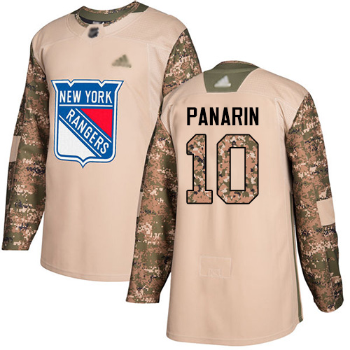 Adidas Rangers #10 Artemi Panarin Camo Authentic 2017 Veterans Day Stitched Youth NHL Jersey