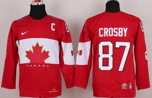 Team Canada 2014 Olympic #87 Sidney Crosby Red With C Patch Stitched Youth NHL Jersey