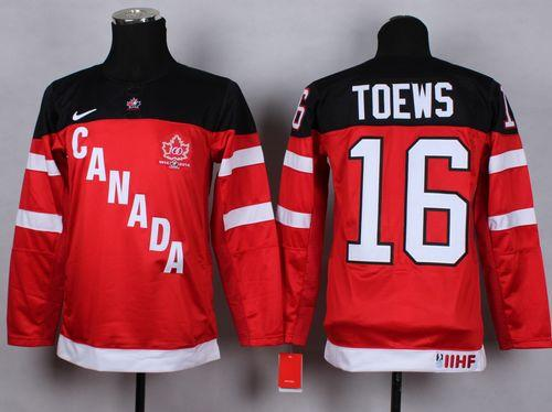 Team Canada #16 Jonathan Toews Red 100th Anniversary Stitched Youth NHL Jersey