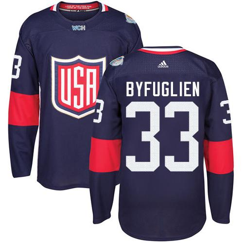 Team USA #33 Dustin Byfuglien Navy Blue 2016 World Cup Stitched Youth NHL Jersey
