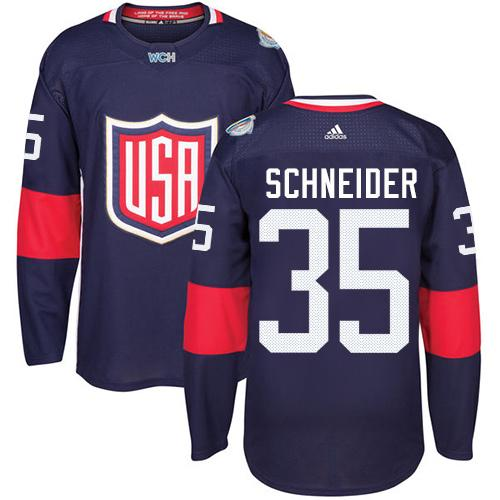 Team USA #35 Cory Schneider Navy Blue 2016 World Cup Stitched Youth NHL Jersey