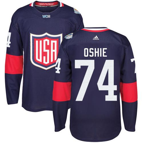 Team USA #74 T. J. Oshie Navy Blue 2016 World Cup Stitched Youth NHL Jersey