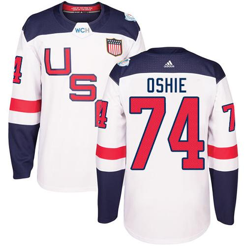 Team USA #74 T. J. Oshie White 2016 World Cup Stitched Youth NHL Jersey