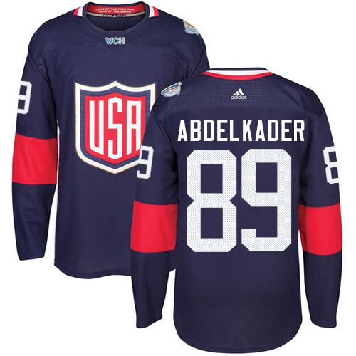 Team USA #89 Justin Abdelkader Navy Blue 2016 World Cup Stitched Youth NHL Jersey