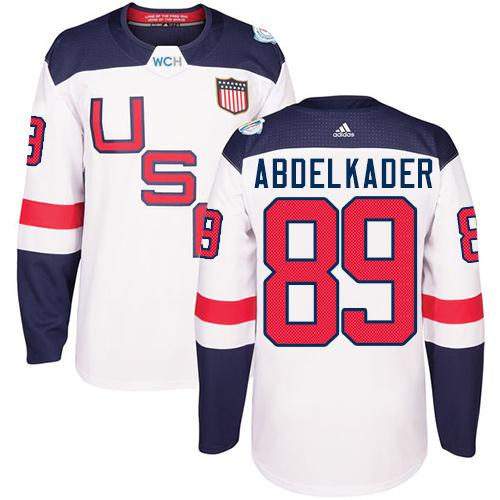 Team USA #89 Justin Abdelkader White 2016 World Cup Stitched Youth NHL Jersey