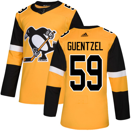Adidas Penguins #59 Jake Guentzel Gold Alternate Authentic Stitched Youth NHL Jersey