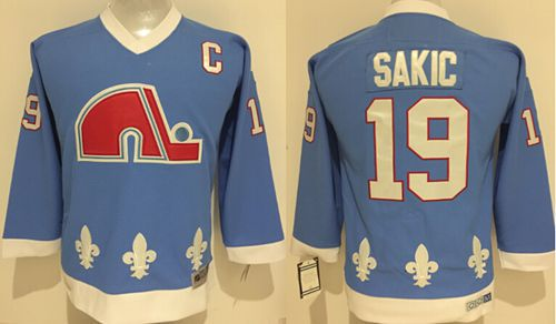 Nordiques #19 Joe Sakic Light Blue Stitched Youth NHL Jersey