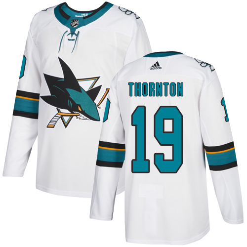 Adidas Sharks #19 Joe Thornton White Road Authentic Stitched Youth NHL Jersey