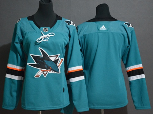 Adidas Sharks Blank Teal Home Authentic Stitched Youth NHL Jersey