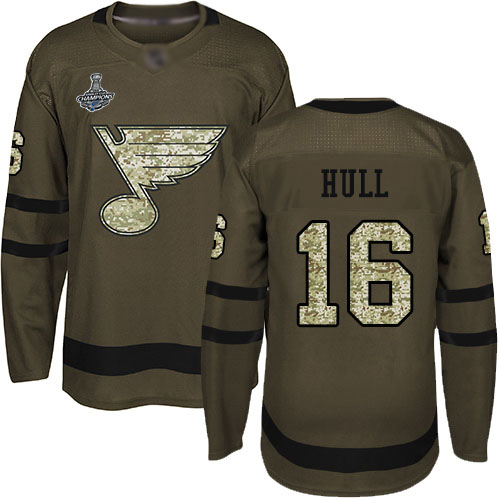Adidas Blues #16 Brett Hull Green Salute to Service Stanley Cup Champions Stitched Youth NHL Jersey