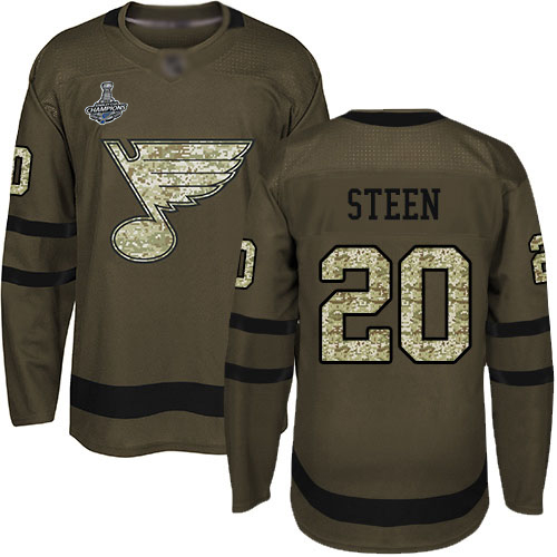 Adidas Blues #20 Alexander Steen Green Salute to Service Stanley Cup Champions Stitched Youth NHL Jersey
