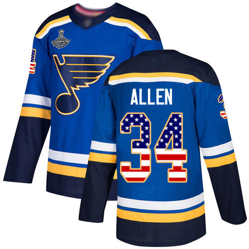 Adidas Blues #34 Jake Allen Blue Home Authentic USA Flag Stanley Cup Champions Stitched Youth NHL Jersey