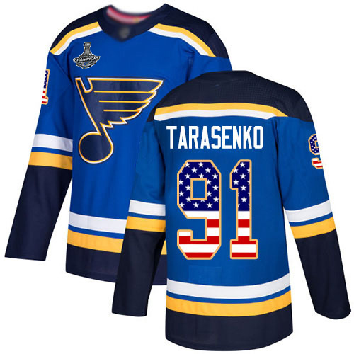 Adidas Blues #91 Vladimir Tarasenko Blue Home Authentic USA Flag Stanley Cup Champions Stitched Youth NHL Jersey