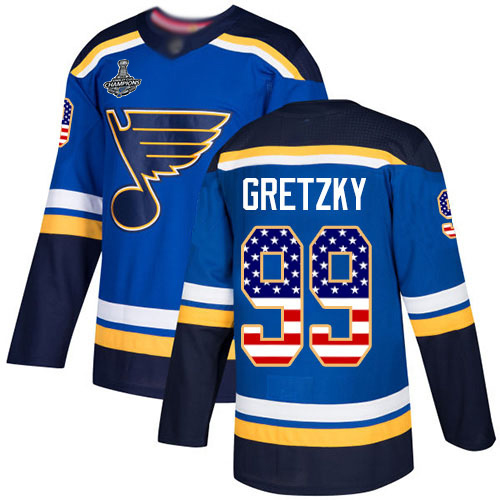 Adidas Blues #99 Wayne Gretzky Blue Home Authentic USA Flag Stanley Cup Champions Stitched Youth NHL Jersey