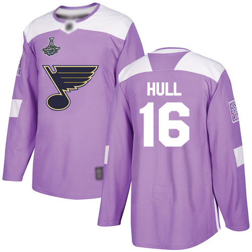 Adidas Blues #16 Brett Hull Purple Authentic Fights Cancer Stanley Cup Champions Stitched Youth NHL Jersey