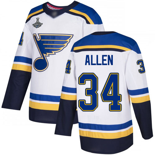 Adidas Blues #34 Jake Allen White Road Authentic Stanley Cup Champions Stitched Youth NHL Jersey