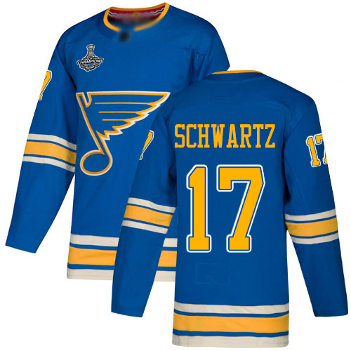 Adidas Blues #17 Jaden Schwartz Blue Alternate Authentic Stanley Cup Champions Stitched Youth NHL Jersey