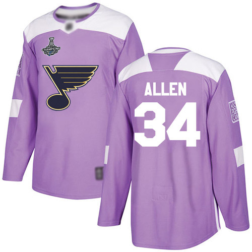 Adidas Blues #34 Jake Allen Purple Authentic Fights Cancer Stanley Cup Champions Stitched Youth NHL Jersey
