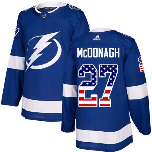 Adidas Lightning #27 Ryan McDonagh Blue Home Authentic USA Flag Stitched Youth NHL Jersey