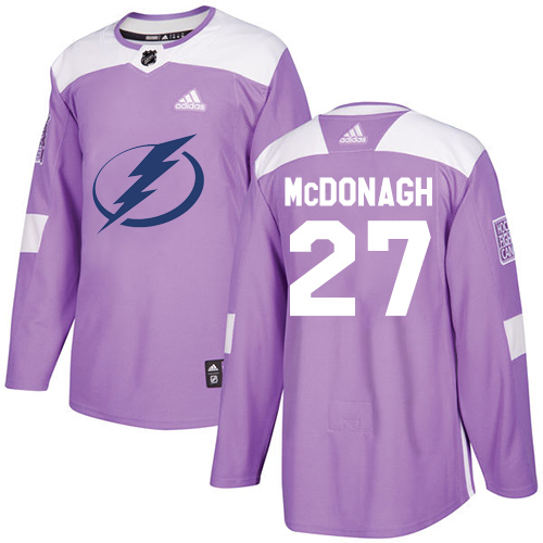 Adidas Lightning #27 Ryan McDonagh Purple Authentic Fights Cancer Stitched Youth NHL Jersey