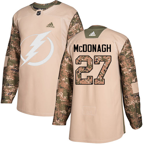 Adidas Lightning #27 Ryan McDonagh Camo Authentic 2017 Veterans Day Stitched Youth NHL Jersey