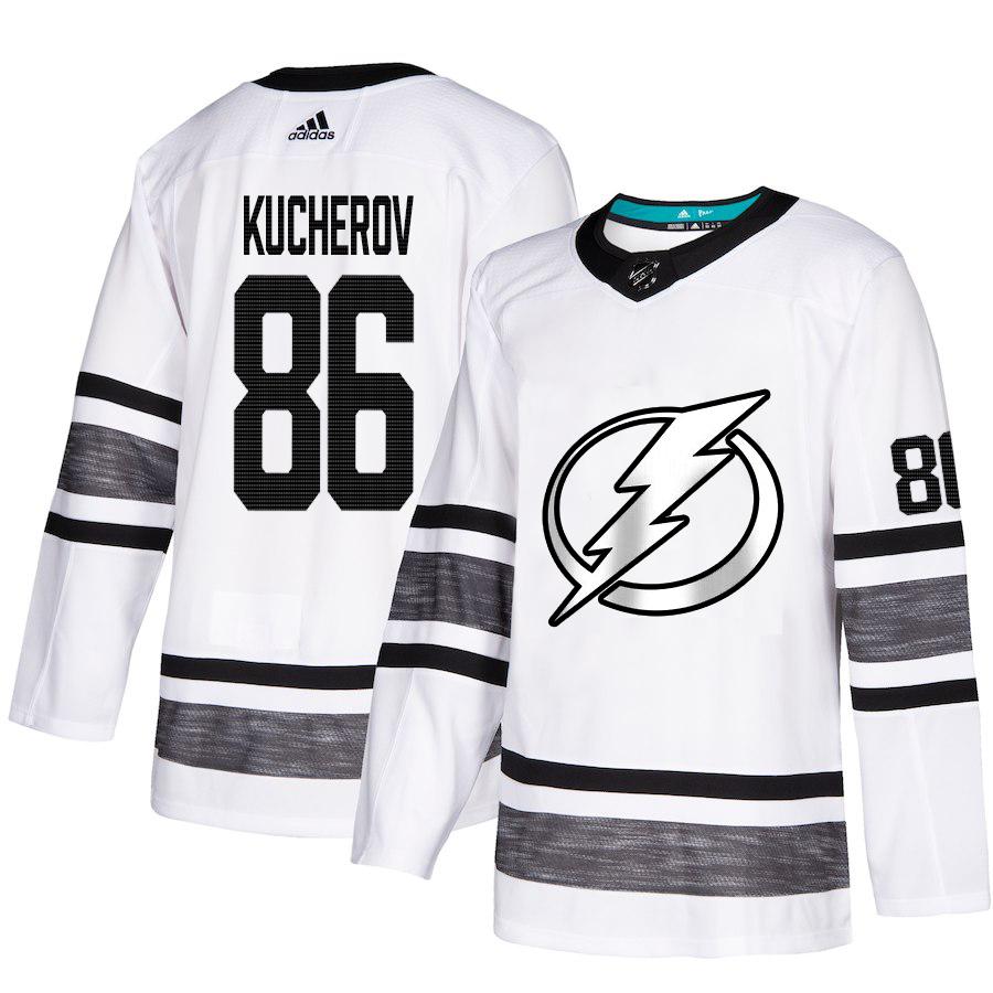 Adidas Lightning #86 Nikita Kucherov White Authentic 2019 All-Star Stitched Youth NHL Jersey