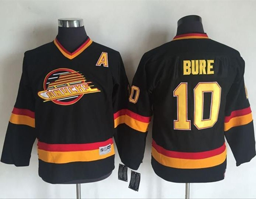 Canucks #10 Pavel Bure Black CCM Throwback Youth Stitched NHL Jersey