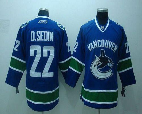 Canucks #22 D.sedin Blue Embroidered Youth NHL Jersey