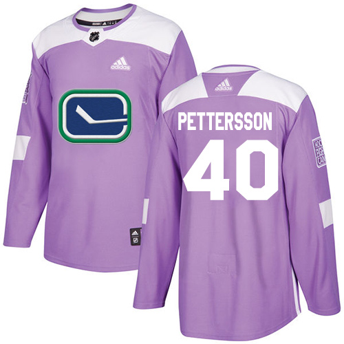 Adidas Canucks #40 Elias Pettersson Purple Authentic Fights Cancer Youth Stitched NHL Jersey
