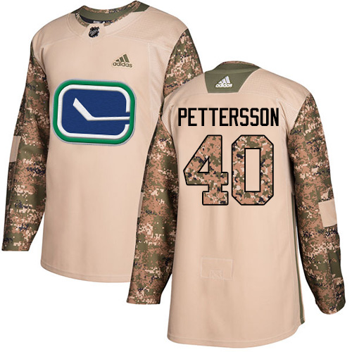 Adidas Canucks #40 Elias Pettersson Camo Authentic 2017 Veterans Day Youth Stitched NHL Jersey