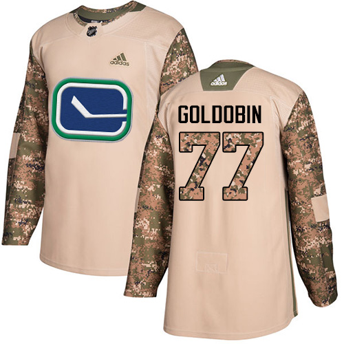 Adidas Canucks #77 Nikolay Goldobin Camo Authentic 2017 Veterans Day Youth Stitched NHL Jersey