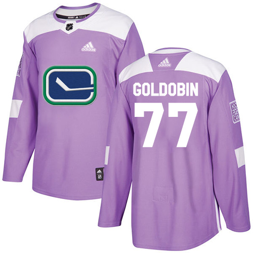 Adidas Canucks #77 Nikolay Goldobin Purple Authentic Fights Cancer Youth Stitched NHL Jersey