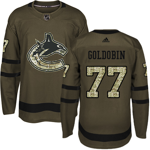 Adidas Canucks #77 Nikolay Goldobin Green Salute to Service Youth Stitched NHL Jersey